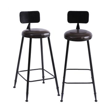 2 x Levede PU Leather Industrial Swivel Chair Bar Stools