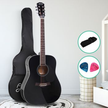 Guitar Acoustic Guitars 41 Inch Wooden Folk Classical Cutaway Steel String For Kids and Adult Black Alpha