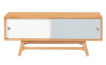 6IXTY Scandinavian TV Stand Cabinet Entertainment Unit - 120cm - White & Grey