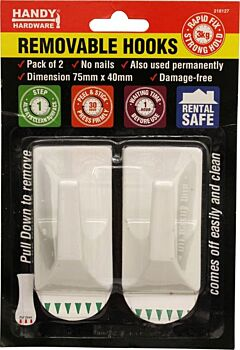 Adhesive Removable Hooks 2 Pack 75 x 40mm