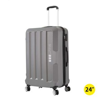 "24"" Check In Luggage Lightweight Travel Cabin Suitcase TSA Lock Grey"