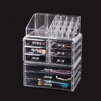 9 Drawer Clear Acrylic Cosmetic Makeup Organizer Jewellery Box