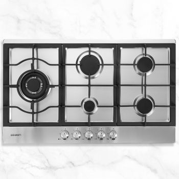 Gas Cooktop 90cm 5 Burner Kitchen Stove Hob Cook Top Cooker w/ Natural/LPG Gas Conversion Kit Stainless Steel