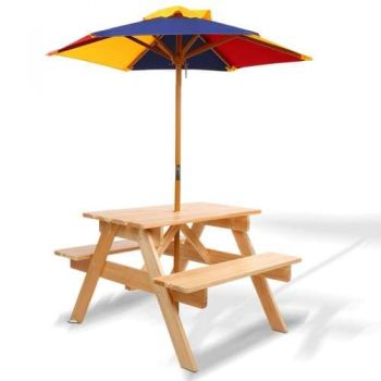 Keezi Kids Wooden Picnic Table Set with Umbrella