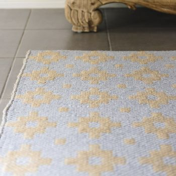 """Hand Made Jute-Cotton Flatweave Rug """"Star"""" in Grey. Size 240x340 cm"""