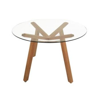 Finland Modern Scandinavian Round Dining Table 110cm - Glass Top - Natural