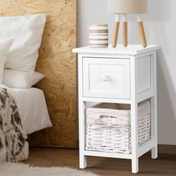 Bedside Tables Drawers Side Table Storage Cabinet Nightstand Bedroom x2
