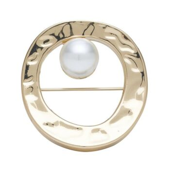 Barcs Australia Textured Circle and Pearl Brooch