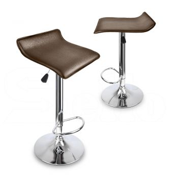 2x Levede PU Leather Swivel Bar Stools Adjustable Gas Lift Chairs in Beige
