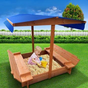 Sandpit Toy Box Kids Canopy Sand Pit Wooden Outdoor Play Set Large Seat Fun