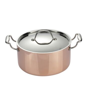Gourmet Kitchen Chef Series 3 Layer Copper Coated Casserole With Lid - Copper/ Silver