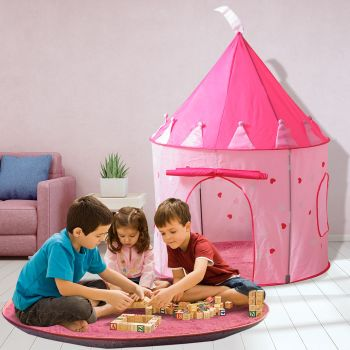 BoPeep Princess Castle Style Kids Pop Up Playtent Play House with Matching Rug