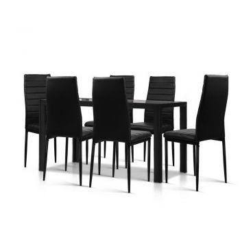 Astra  7Piece Dining Table and Chairs Dining Set Glass Leather Seater BK