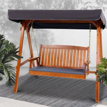 Wooden Swing Chair Hanging Chairs Hammock Outdoor Furniture 3 Seater Canopy Garden Bench Seat Patio Lounger Cushion Backyard Park Gardeon Teak