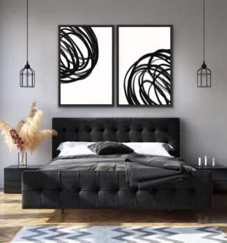 The Heart Of The Matter - Two Piece Black and White Stretched Canvas Wall Art