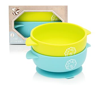 Silicone Baby Suction Bowls - Twin Pack - 100% Food-grade Silicone, BPA free