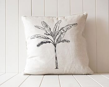 Indoor Cushion - Linen Feather Insert - Black on Natural Banana Palm - 50x50