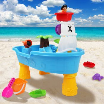 Kids Outdoor Pirate Ship Sand and Water Table Children Beach Sandpit Toys