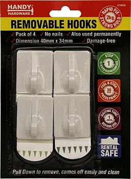Adhesive Removable Hanging Hook 4 Pack 40 x 34mm