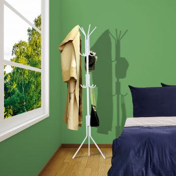 3 Tier Coat Hanger Stand Hat Clothes Rack Metal Tree Style Storage White