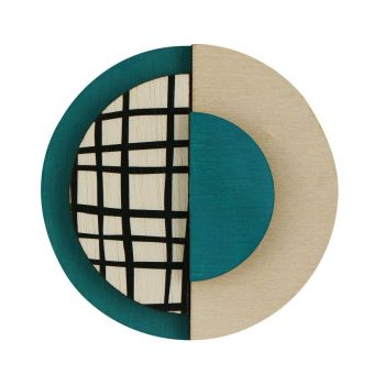 Circle wooden statement brooch with lines in green