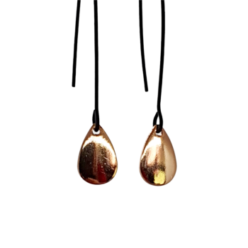 Black & Rose Gold Tear Drop Dangles