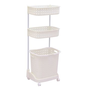 3-Tier Laundary Clothes Basket Hamper with Wheels in White