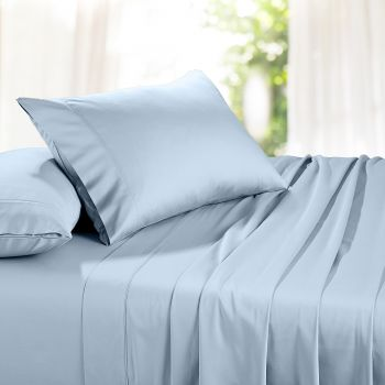 Queen Bed 1500TC Organic Cotton Rich Bed Sheet Sets in Blue
