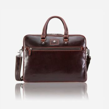 Oxford Leather Laptop Briefcase Tobacco