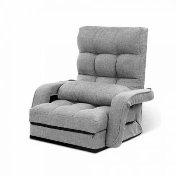 Lounge Sofa Armchair Floor Recliner Chaise Linen Light Grey