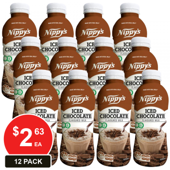 12 Pack, Nippy's 500ml Bottles Iced Chocolate Flavoured Milk