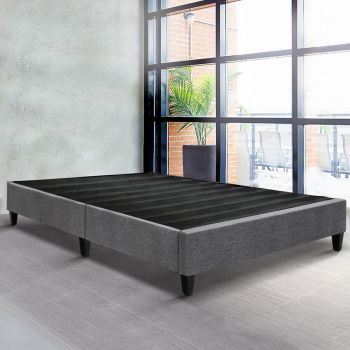Artiss King Size Bed Base Frame Mattress Platform Linen Fabric Wooden Grey BRISK