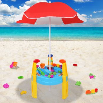 Kids Outdoor Umbrella Sand and Water Table Play Set Toys Beach Sandpit