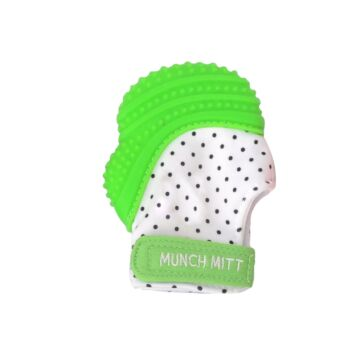 Munch Mitt Teething Mitten Green Dots