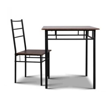 3PC Industrial Dining Table and Chairs Dining Set Walnut and Black