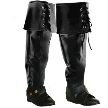 Lace Up Pirate Boot Covers - Black