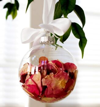 20 Pack - 6cm clear glass bauble table tree centrepice personal craft theme gift message