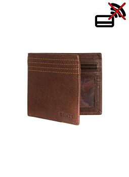 Contrast Stitch Pebble Grain Leather Wallet with RFID Blocking Protection