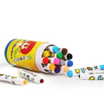 SPECIAL ROUND TIP WASHABLE MARKER -12 COLORS