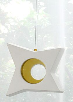 1 Boxed Hangable White Pottery Ceramic Outdoor Decoration Star Tealight Candle Holder - Yellow Centre