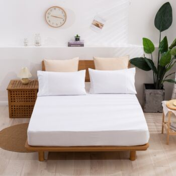 Dreamaker cotton Jersey fitted sheet Double Bed White