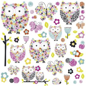 ROOMMATES Prisma Owls & Butterflies Peel and Stick Wall Decals