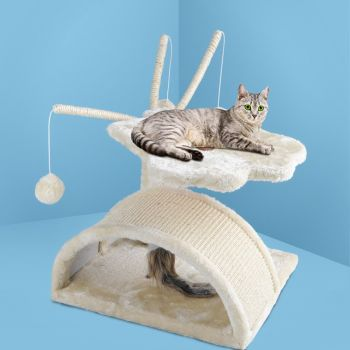 i.Pet Cat Tree Trees Scratching Post Scratcher Tower Condo House Furniture Wood Beige 45cm