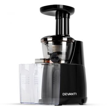 Devanti Cold Press Slow Juicer Fruit Vegetable Processor Extractor Mixer Black
