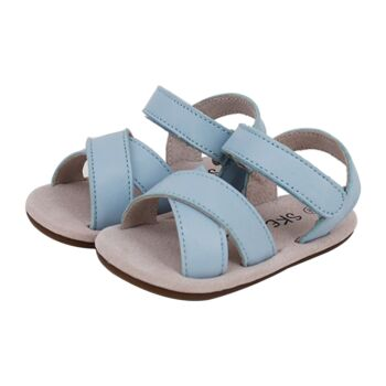 SKEANIE Baby & Toddler Cross Leather Sandals Sky Blue