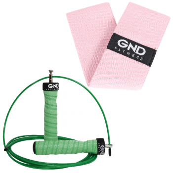 GND Skipping Rope & Fabric Resistance Band // Pack - The Hulk / 38cm Pink