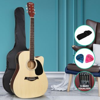 Guitar Electric Acoustic Guitars Wooden Classical Bass Folk Music For Kids And Adult Full Size Alpha 41 Inch Natural Wood
