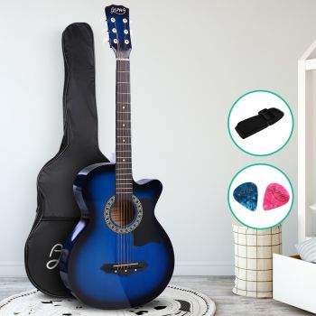 Guitar Acoustic Guitars 38 Inch Wooden Folk Classical Cutaway Steel String For Kids and Adult Blue Alpha