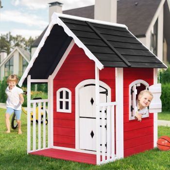 Kids Cubby House Playhouse Outdoor Play House Wooden Cottage Childrens Toddler Set Backyard Garden Red