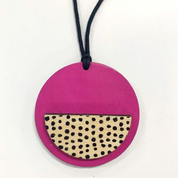 Circle Pendant in pink and black spots
